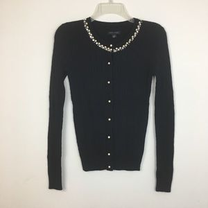 Tommy Hilfiger Pearl Cable Knit Navy Cardi…